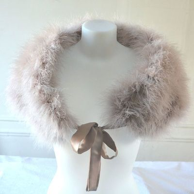 Stole, wrap, bolero powder pink with real ostrich feathers
