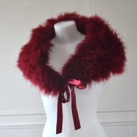 Lovely bordeaux evening wrap - Real ostrich feathers