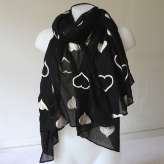 Long black foulard with off-white embroideries