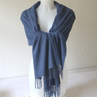 Blue jean cashmere, wool and viscose winter shawl
