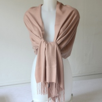 Large shawl or warm stole - dark powder pink - cashmere, wool and viscose