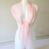 Long foulard - light pink silk mousseline/chiffon