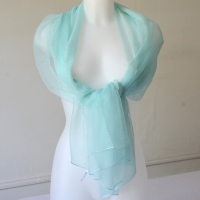 Long silk mousseline foulard -  light turquoise