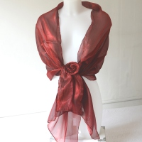 Bordeaux wedding, evening stole with flower pin