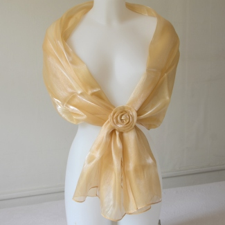 Wedding, evening dark champagne/vanilla stole with flower pin