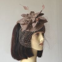Winter wedding fascinator - greyish brown felt with feathers, veil and beads