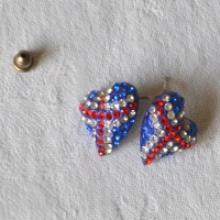 Rhinestone earrings with the United Kingdom flag