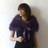 Real ostrich feathers violet bolero