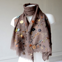 Wonderful hand embroideries on a large Sophie Digard scarf - 100 % merino wool