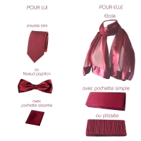 Wedding, evening accessorie in PARTNER LOOK bordeaux- TIE and pocket square OUT OF STOCK - Only with bowtie