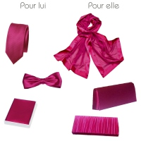 Dark fuchsia PARTNER LOOK wedding, evening accessories