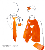 Orange PARTNER LOOK man/woman for weddings, evenings...