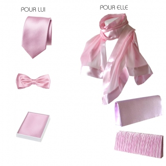 Pink PARTNER LOOK - matching wedding, evening accessories for man and woman