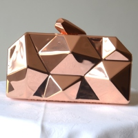 Evening bag - polygonal box - metallic pink gold