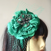 Wedding fascinator - emerald green