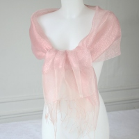Long evening wedding pink foulard with silk organza and lurex