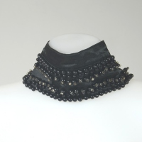 Detachable collar - black satin with pearls and rhinestones
