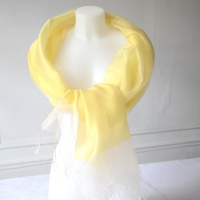 Yellow stole - for weddings, evenings - silk organza on viscose