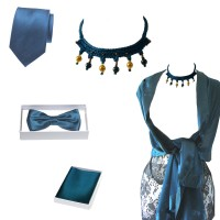 Matching wedding, evening woman, man petrol blue accessories