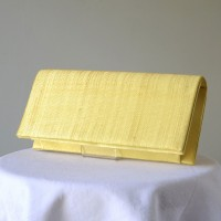 Evening, wedding sinamay yellow clutch