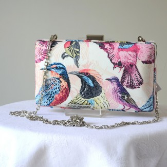Box clutch for weddings or evenings with pink birds