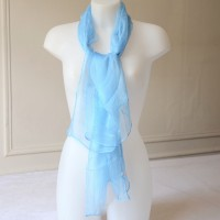 Long foulard - sky blue 100 % silk mousseline