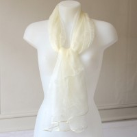 Long off-white foulard - 100 % silk mousseline