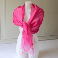 Wedding, evening fuchsia stole - silk organza
