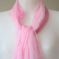 Long bright pink foulard - 100 % silk mousseline