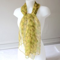 Chiffon green, yellow and brown long foulard - 100 % silk