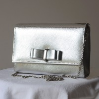 Leatherette evening bag - silver -