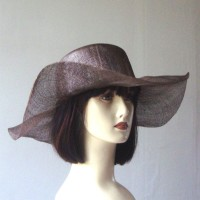 Dark brown sinamay wedding hat