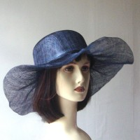 Wedding navy blue hat - sinamay