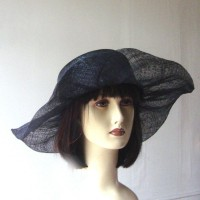 Simple and cheap wedding black hat - sinamay