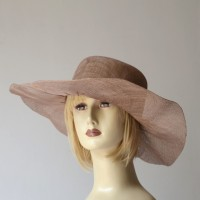 Camel wedding hat - sinamay