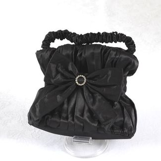 Taffeta black wedding, evening bag, aumoniere