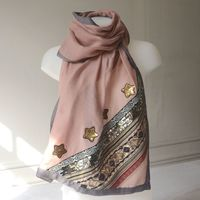 Large dust pink wrap with gold and silver embroideries