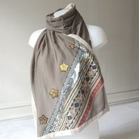Large light brown shawl with golden and silver embroideries