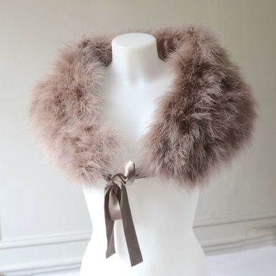 Light brown wrap - real ostrich feathers