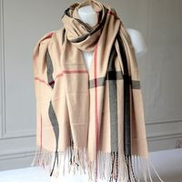 Very long and large cashmere shawl in the Burberry style