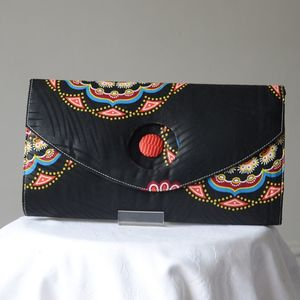 Very styly african wax clutch - mainly black with contrasting colours