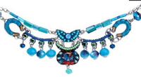 "Collier Ayala Bar - ""Juniper forest"" - pierres turquoises, bleues, vertes, rouges"