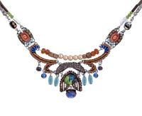 "Ayala Bar necklace - ""Pine"" camel, light/dark blue, coral, pearls"