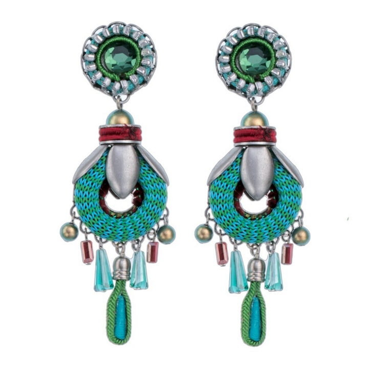 36c10139d Green and turquoise blue Ayala Bar earrings - pierced ears