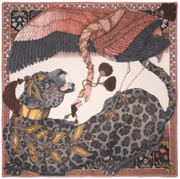 "Sabina Savage square foulard 90 cm- 100 % silk twill - ""Panther and Flamingo"""
