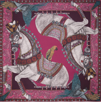 "Sabina Savage foulard, square scarf - silk twill - 90/90 cm - ""Ponies and Parrots"""