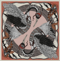 "Sabina Savage - Silk twill square scarf - 90/90 - ""Takeru Heron"""