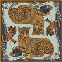 "Sabina Savage - Large square scarf, stole - Wool and silk - 135/135 cm - ""Boneyard Leopard"""