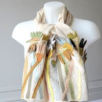 Large light beige stole - Sophie Digard creations - linen veil and hand made embroideries and appliqués