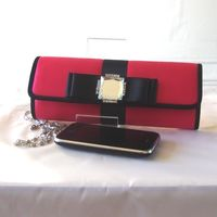 Fuchsia/red and black satin clutch with crystals